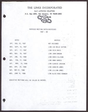 Primary view of object titled '[Links Chapter Documentation: Proposed Meeting Dates/Hostesses 1987-88]'.