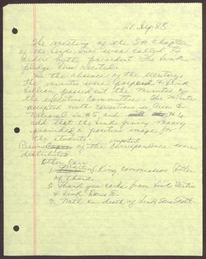 Primary view of object titled '[Note about minutes from the September 21, 1988 meeting of the San Antonio chapter of Links, Inc.]'.
