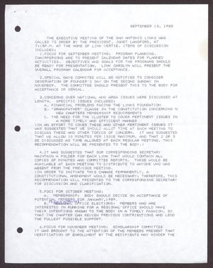 Primary view of object titled '[Minutes for the San Antonio Chapter of the Links, Inc. Meeting - September 13, 1988]'.
