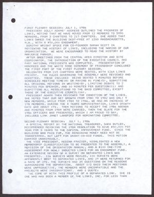 Primary view of object titled '[Links Chapter Documentation: Report of the National Assembly - July 1986]'.