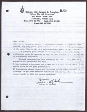 Primary view of object titled '[Letter from Duncan E. Jackson to San Antonio Chapter of The Links, Inc. - 1988]'.