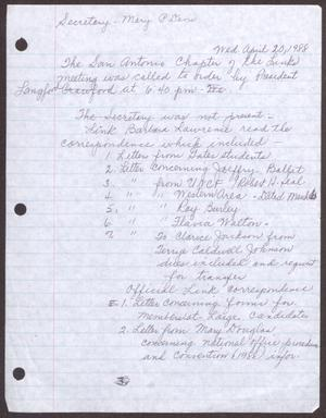 Primary view of object titled '[Minutes for the San Antonio Chapter of the Links, Inc. Meeting - April 20, 1988, Part 1]'.