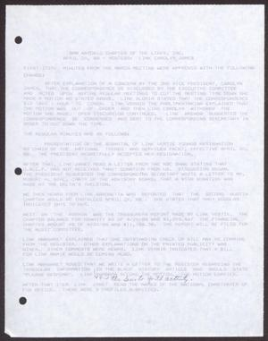 Primary view of object titled '[Minutes for the San Antonio Chapter of the Links, Inc. Meeting - April 20, 1988, Part 2]'.