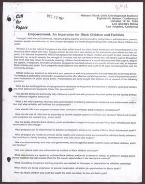 Primary view of object titled '[Links Chapter Documentation: Call for Papers from the National Black Child Development Institute]'.