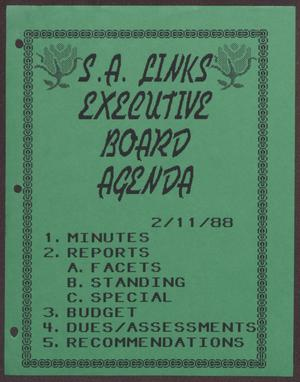 Primary view of object titled '[Agenda for the San Antonio Chapter of the Links, Inc. Meeting - February 11, 1988]'.