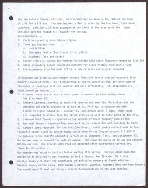 Primary view of object titled '[Minutes for the San Antonio Chapter of the Links, Inc. Meeting - January 16, 1988]'.