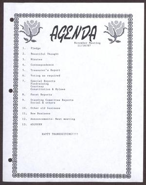 Primary view of object titled '[Agenda for the San Antonio Chapter of the Links, Inc. Meeting - November 18, 1987]'.