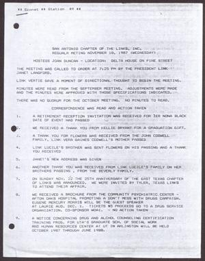 Primary view of object titled '[Minutes for the San Antonio Chapter of the Links, Inc. Meeting - November 18, 1987, Part 1]'.