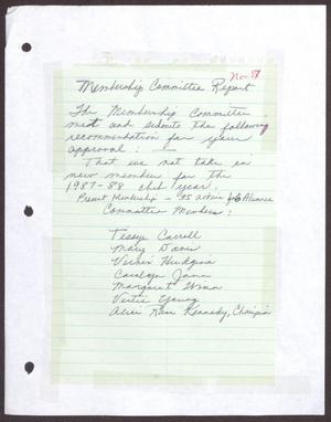 Primary view of object titled '[Status Report: Membership Committee - November 1987]'.