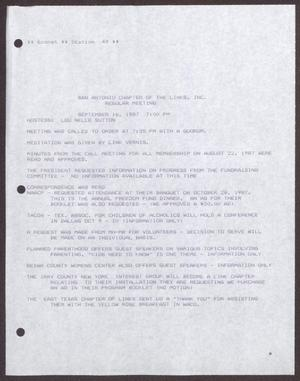 Primary view of object titled '[Minutes for the San Antonio Chapter of the Links, Inc. Meeting - September 16, 1987]'.