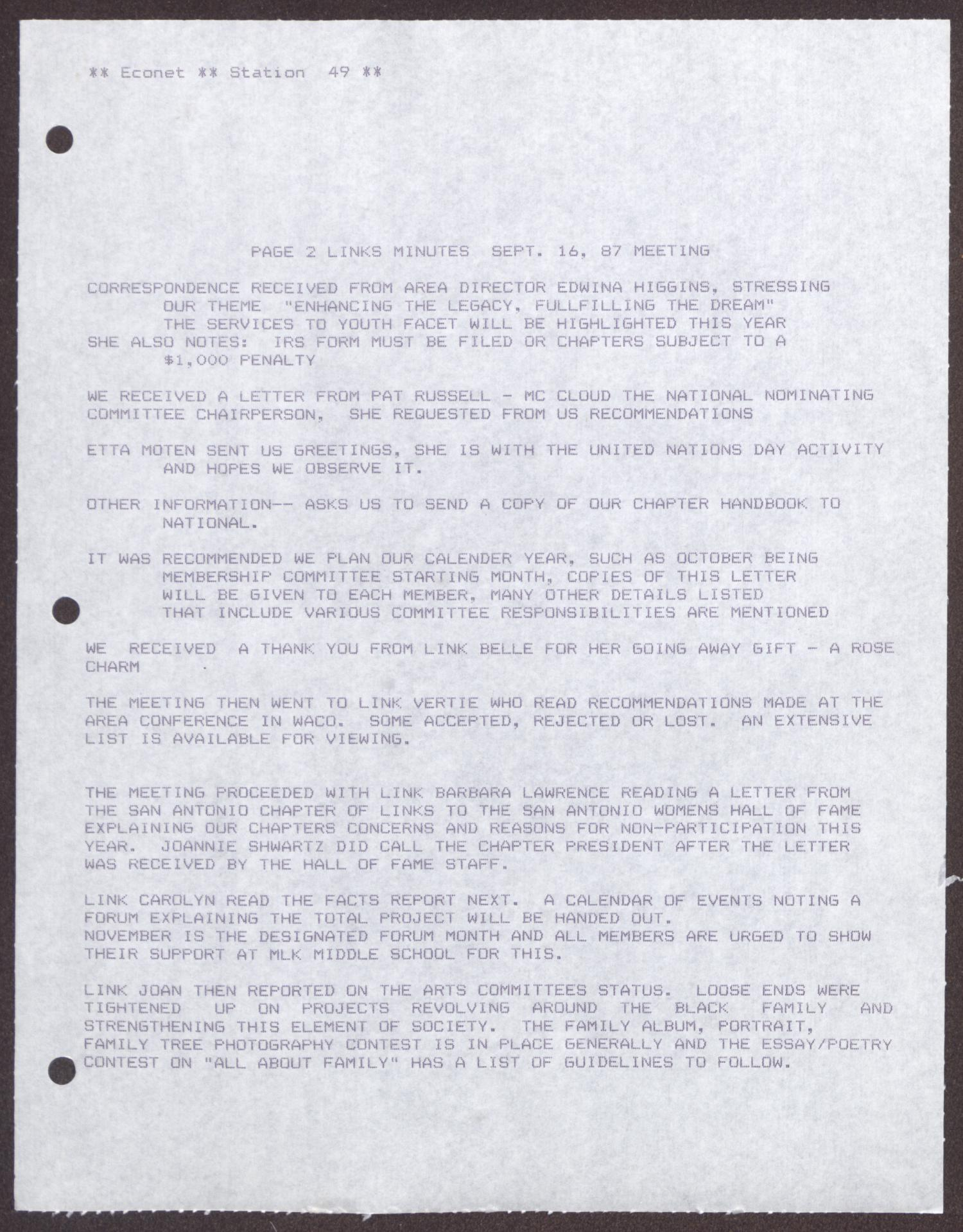 [Minutes for the San Antonio Chapter of the Links, Inc. Meeting - September 16, 1987]                                                                                                      [Sequence #]: 3 of 8