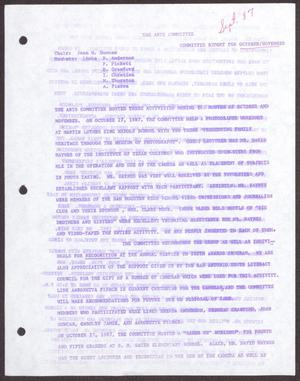 Primary view of object titled '[Status Report: Arts Committee - October-November 1987]'.