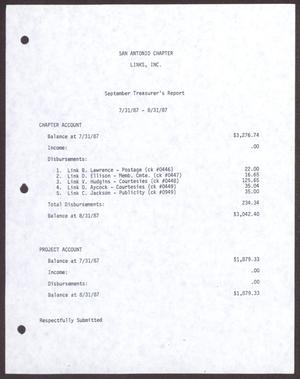 Primary view of object titled '[Status Report: Treasurer's Report, September 1987]'.