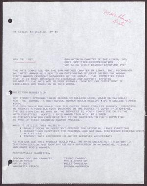 Primary view of object titled '[Status Report: Arts Committee, May 1987]'.