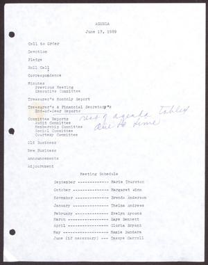 Primary view of object titled '[Agenda for the San Antonio Chapter of the Links, Inc. Meeting - June 17, 1989]'.