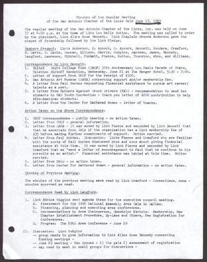 Primary view of object titled '[Minutes for the San Antonio Chapter of the Links, Inc. Meeting - June 17, 1989]'.