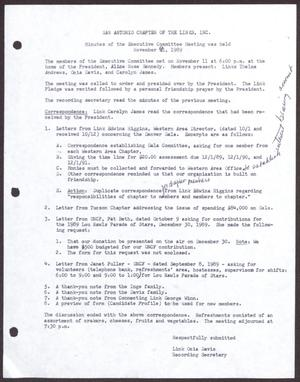 Primary view of object titled '[Minutes for the San Antonio Chapter of the Links, Inc. Meeting - November 9, 1989]'.