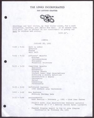 Primary view of object titled '[Agenda for the San Antonio Chapter of the Links, Inc. Meeting - January 20, 1991]'.
