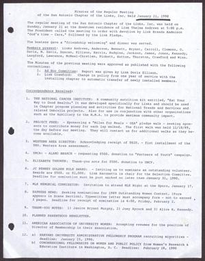 Primary view of object titled '[Minutes for the San Antonio Chapter of the Links, Inc. Meeting - January 21, 1990]'.