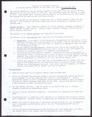 Primary view of object titled '[Minutes for the San Antonio Chapter of the Links, Inc. Meeting - February 18, 1990]'.