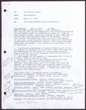 Primary view of object titled '[Links Chapter Documentation: Notice of Regular Link Meeting for San Antonio Chapter on May 6, 1990]'.