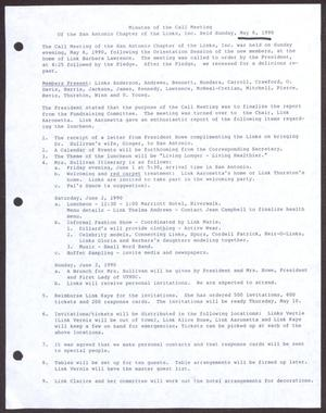 Primary view of object titled '[Minutes for the San Antonio Chapter of the Links, Inc. Meeting - May 6, 1990]'.