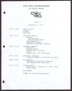 Primary view of object titled '[Agenda for the San Antonio Chapter of the Links, Inc. Meeting - September 29, 1990]'.