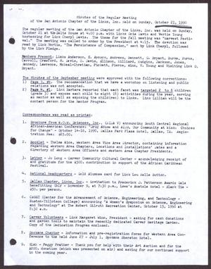 Primary view of object titled '[Minutes for the San Antonio Chapter of the Links, Inc. Meeting - October 21, 1990]'.