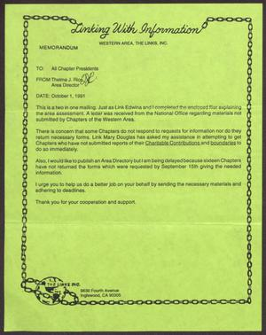 Primary view of object titled '[Letter from Thelma J. Rice to Western Area Chapter Presidents - October 1, 1991]'.