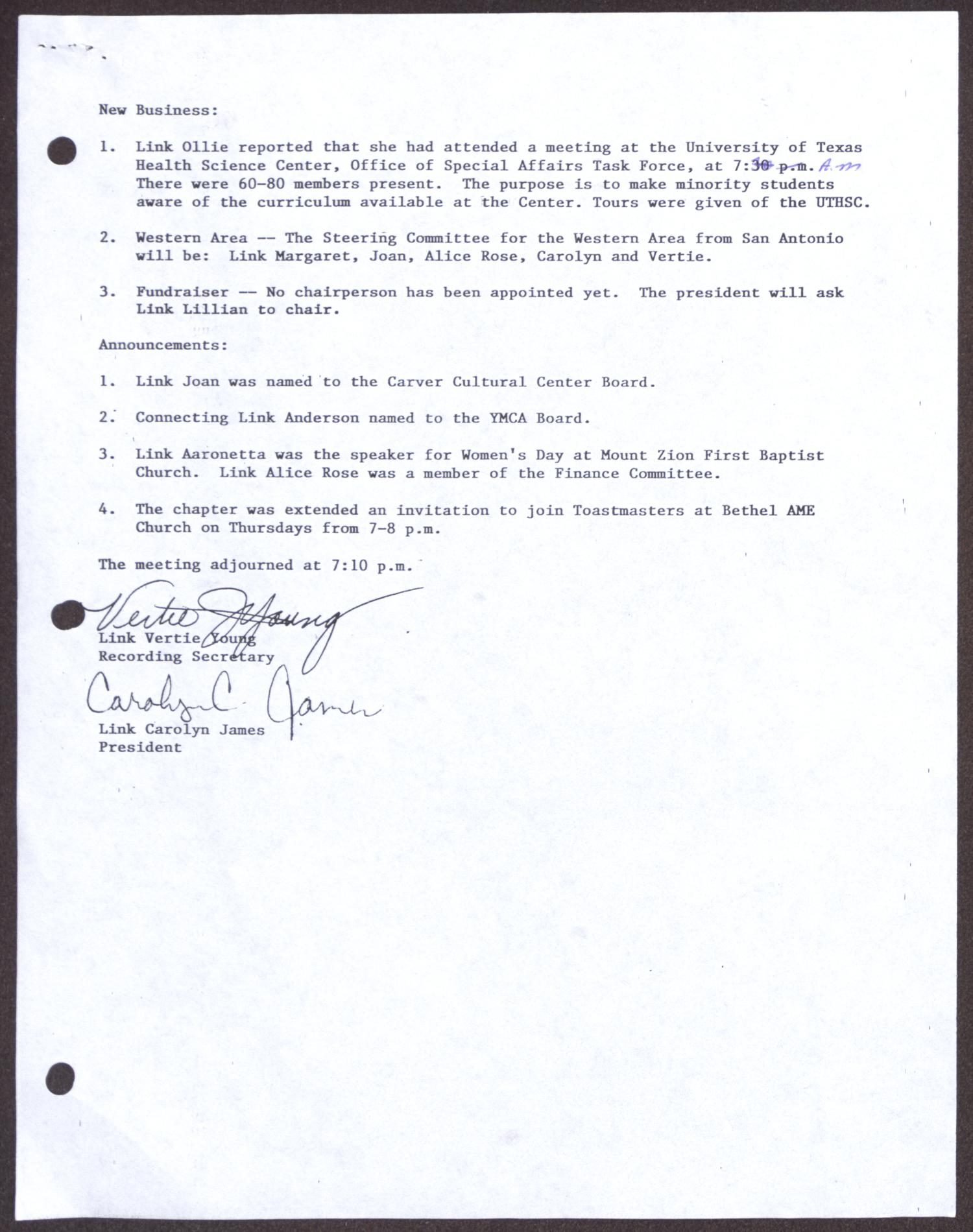 [Minutes for the San Antonio Chapter of the Links, Inc. Meeting - October 20, 1991]                                                                                                      [Sequence #]: 3 of 4