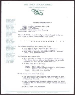 Primary view of object titled '[Links Chapter Documentation: Notice of Regular Link Meeting for San Antonio Chapter on January 19, 1992]'.