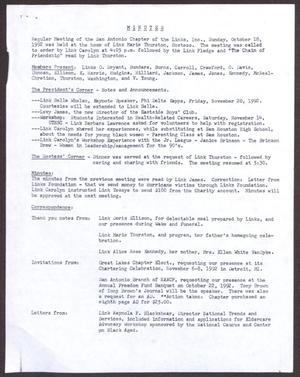 Primary view of object titled '[Minutes for the San Antonio Chapter of the Links, Inc. Meeting - October 18, 1992]'.