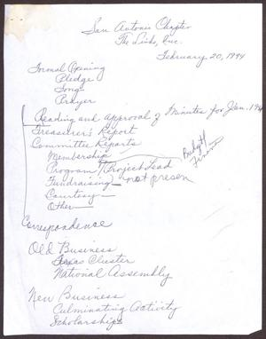Primary view of object titled '[Minutes for the San Antonio Chapter of the Links, Inc. Meeting - February 20, 1994, Part 1]'.