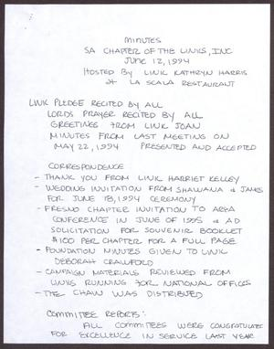 Primary view of object titled '[Minutes for the San Antonio Chapter of the Links, Inc. Meeting - June 12, 1994]'.