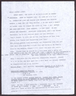 Primary view of object titled '[Letter to members of the San Antonio chapter of The Links, Inc. - July 1994]'.