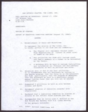 Primary view of object titled '[Agenda for the San Antonio Chapter of the Links, Inc. Meeting - August 17, 1994]'.