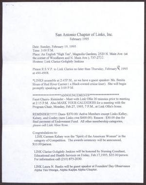 Primary view of object titled '[Links Chapter Documentation: Notice of Regular Link Meeting for San Antonio Chapter on February 19, 1995]'.
