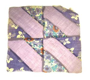 Primary view of object titled '[Purple Flowered Quilt Block]'.