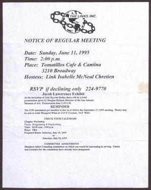 Primary view of object titled '[Links Chapter Documentation: Notice of Regular Link Meeting for San Antonio Chapter on June 11, 1995]'.