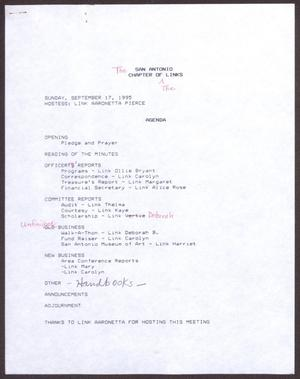 Primary view of object titled '[Agenda for the San Antonio Chapter of the Links, Inc. Meeting - September 17, 1995]'.