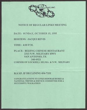 Primary view of object titled '[Links Chapter Documentation: Notice of Regular Link Meeting for San Antonio Chapter on October 15, 1995]'.