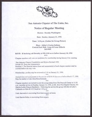 Primary view of object titled '[Links Chapter Documentation: Notice of Regular Link Meeting for San Antonio Chapter on January 21, 1996]'.
