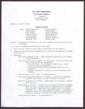 Primary view of object titled '[Minutes for the San Antonio Chapter of the Links, Inc. Meeting - February 3, 1996]'.