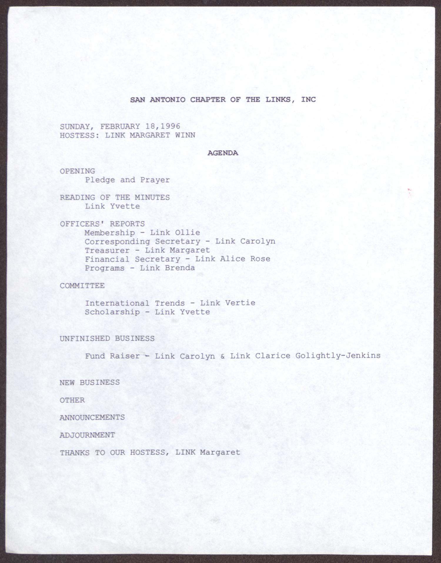 [Agenda for the San Antonio Chapter of the Links, Inc. Meeting - February 18, 1996]                                                                                                      [Sequence #]: 1 of 6