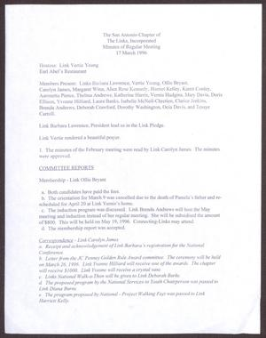 Primary view of object titled '[Minutes for the San Antonio Chapter of the Links, Inc. Meeting - March 17, 1996]'.