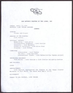 Primary view of object titled '[Agenda for the San Antonio Chapter of the Links, Inc. Meeting - April 21, 1996]'.