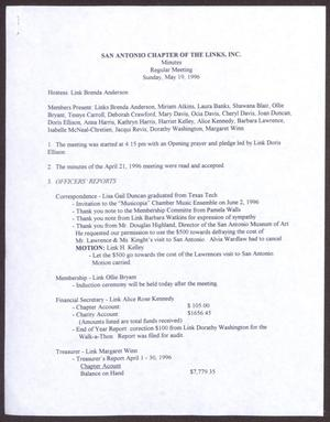 Primary view of object titled '[Minutes for the San Antonio Chapter of the Links, Inc. Meeting - May 19, 1996]'.