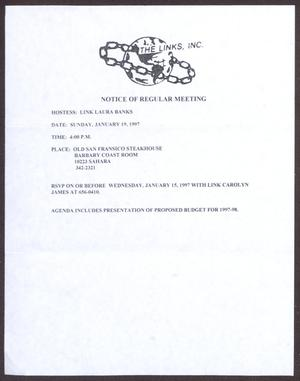 Primary view of object titled '[Links Chapter Documentation: Notice of Regular Link Meeting for San Antonio Chapter on January 19, 1997]'.