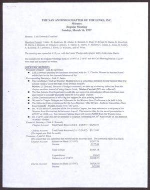 Primary view of object titled '[Minutes for the San Antonio Chapter of the Links, Inc. Meeting - March 16, 1997]'.
