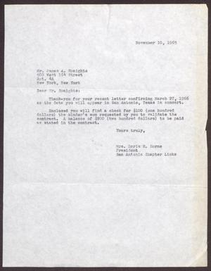 Primary view of object titled '[Letter from James Spaights to Doris Horne - November 10, 1965]'.